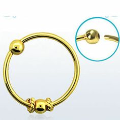 Nose Hoop Gold Plated 18K 20g 0 8mm Balinese Wire Design Single Pair 2mm Ball | eBay