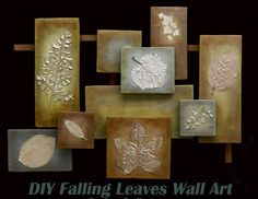 DIY Fall Wall Art This would be great as a gift **Same look but with pictures instead of leaves Leaf Crafts, Fall Crafts, Diy Crafts, Thanksgiving Crafts, Leaf Wall Art, Leaf Art, Art Diy, Diy Wall Art, Pop Art Bilder