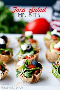 Taco Salad Mini Bites  appetizer | game day recipe | recipe