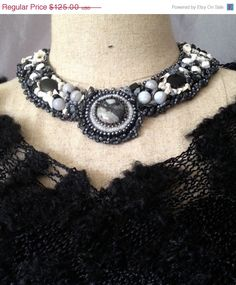 ON SALE Embroidered NecklaceOnyxHowlite and by bjswearableart, $75.00