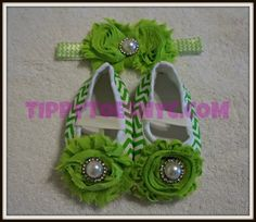 baby shoes green stripe and headband