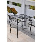 "Found it at Wayfair - Tropico Outdoor Patio Side Table 22"" high, made in china, wrought iron"