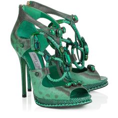 Emerald Karung Sandals with Semi-Precious Stones | Madison | Cruise 15 Vices | JIMMY CHOO Vices.