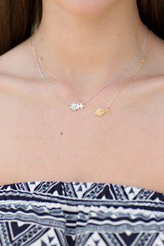 Puzzle Piece Necklace. gold puzzle necklace, silver puzzle necklace. By Jane Divine Boutique www.janedivine.com