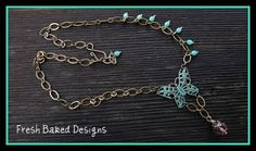 """Painted """"patina"""" butterfly necklace"""