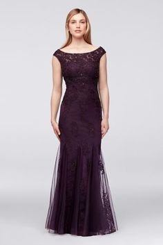 Embellished Floral Lace and Tulle Mermaid Dress 58436D