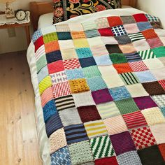 Chubby knitted fabric is nostalgic meeting of sampler of Afghan knitting…