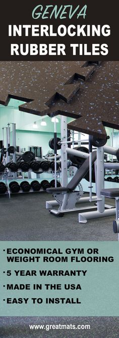 Geneva interlocking rubber tiles are easy to install, Made in the USA and great for gyms and weight room floors. They also carry a five year warranty.