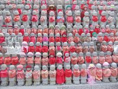 Hundreds of these little statues reflect a poignant scene. Jizo is the afterlife guardian and protector of little children who have passed on. Each of these statues was probably donated by parents who had lost a child.