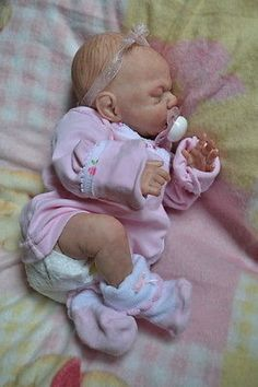 OOAK Reborn baby girl with 3d skin preemie Emma   art doll artist newborn