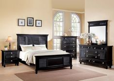 Merivale 5 PC Contemporary Bedroom Set in Black (Bed, Nightstand, Dresser, Mirror and Chest)