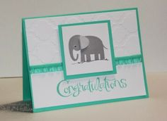 "SATURDAY, DECEMBER 21, 2013  Jill's Card Creations: For Baby: Congratulations | Stamps: Zoo Babies, Sassy Salutations; Paper: Coastal Cabana, Whisper White; Ink: Smoky Slate; Accessories: Coastal Cabana 3/8"" Ruffle Stretch Trim, Modern Mosaic EF"