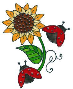 Ladybugs Sunflower Window Cling