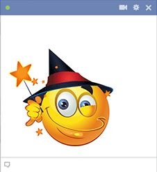 Cast a spell on your friends when you share this witchy smiley on Facebook.