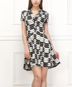 Loving this Black & White Abstract Button-Up A-Line Dress - Women on #zulily! #zulilyfinds