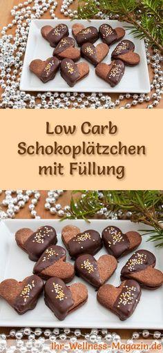 #Plätzchen backen ~ Low-Carb-Weihnachtsgebäck-Rezept für Schokoplätzchen mit Füllung: Kohlenhydratarme, kalorienreduzierte Weihnachtskekse - ohne Getreidemehl und Zucker gebacken ... #lowcarb #backen #weihnachten