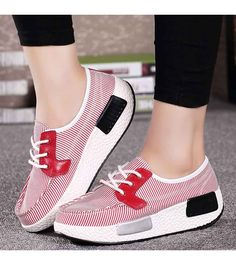 Women's #red lace up #rocker bottom sole shoe sneakers pattern, sewing thread design, stripe pattern, Shock absorption sole, casual, leisure occasions.