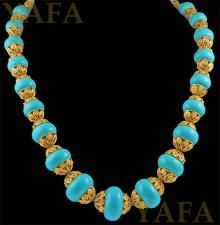 18k Gold and Turquoise Neckace