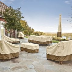 The Classic Accessories Veranda Patio Offset Umbrella and Base Cover is a step down from the Ravenna line, and is a little cheaper with a shorter warranty. For those who don't have super expensive umbrellas, this is a great option for protecting your investment. This patio umbrella cover with zipper comes in two sizes, the smaller one being 92″ x 25″ x 7.5″, and the larger one being 101″ x 34″ x 27″. The larger one is more expensive, and we encourage you to measure your umbrella and ....... Outdoor Table Covers, Round Outdoor Table, Square Patio Table, Outdoor Cover, Patio Bar, Patio Grill, Bbq Grill, Loveseat Covers, Chair Covers