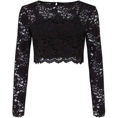 Miss Selfridge Black Lace Top (1 235 UAH) ❤ liked on Polyvore featuring tops, black, long sleeve crop top, lace tops, miss selfridge, scallop hem top and lace crop top