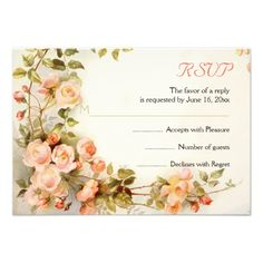 Vintage romantic painting of roses wedding RSVP reply card. #roses, #RSVP, #replycard, #card, #romantic, #vintage, #floral  See more designs http://www.zazzle.com/weddings_?rf=238228936251904937=zBookmarklet