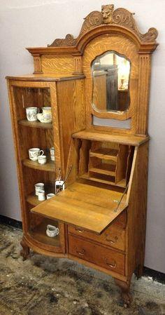Antique Solid Wood Shebaygan Secretary W/ Mirror Beautiful!