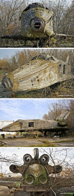 These images reveal the abandoned Buran 1/3 scale wind tunnel mockup prior to the derelict test article's destruction.