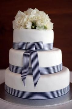image of Fondant Wedding Cake ♥ Wedding Cake Design Nautical Wedding Cakes, Nautical Bridal Showers, Nautical Cake, Nautical Theme, Pretty Cakes, Beautiful Cakes, Amazing Cakes, Bolo Fit, Ribbon Cake