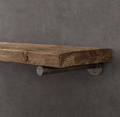 Reclaimed Wood Wall Shelf and bracket, Restoration Hardware. Reclaimed Wood Shelves, Wood Wall Shelf, Rustic Shelves, Wall Shelves, Kitchen Shelves, Bedroom Shelves, Glass Shelves, Wooden Shelves, Diy Kitchen