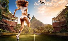 FIFA world cup 2014 calendar is out with hot Brazilian girls, showing famous moves or kicks of football or Soccer. Tim Tadder is a well-known sports art photojournalist who has created this beautiful calendar. Go Brazil, Brazil World Cup, World Cup 2014, Fifa World Cup, Girl Football Player, Football Girls, Football Players, Michael Phelps, Lionel Messi