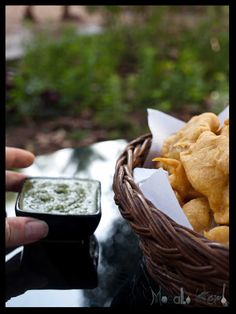 Onion Pakora and Green Chutney Dip #Glutenfree