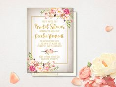 Rustic Bridal Shower Invitation Boho Flowers Bridal Shower