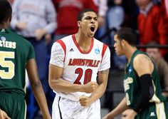 LEXINGTON, KY - MARCH 23: Wayne Blackshear #20 of the Louisville Cardinals celebrates after a play against the Colorado State Rams in the first half during the third round of the 2013 NCAA Mens Basketball Tournament at Rupp Arena on March 23, 2013 in Lexington, Kentucky