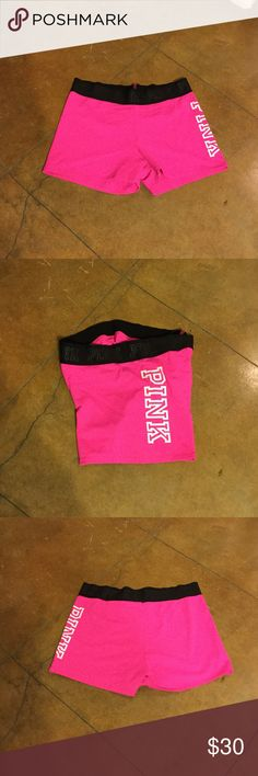 """PINK Victoria's Secret Shorts (L). ❗Last Chance❗ Pre-own nice pink shorts with PINK lettering on waistband and side of shorts.  Shorts great conditions.  Please see photos #7 """"P"""" does have a little pull And feel free to ask questions.  ❗Final Price❗ PINK Victoria's Secret Shorts"""