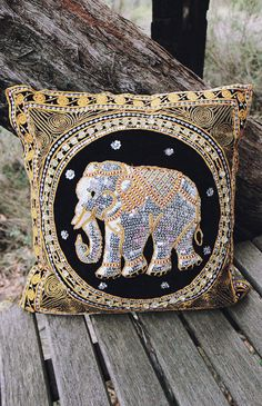 By The Moon - Ganesha Sequin Cushion Cover - Black