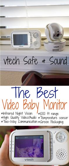 The best baby monitor - VTech Safe & Sound.  Full color video, high quality audio, pan, tilt and zoom from the parental unit, and feel comfortable knowing you can see your baby breathing peacefully, while you're in another room.