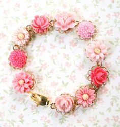 Girls Pink Rose and Daisy Bracelet, Romantic, Shabby Chic, Pink on Etsy, $28.00