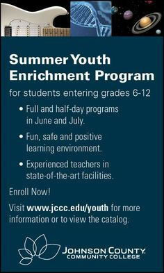 Take advantage of JCCC's Summer Youth Enrichment Program to get your children involved in education this summer!! // For more family resources visit ifamilykc.com! :)