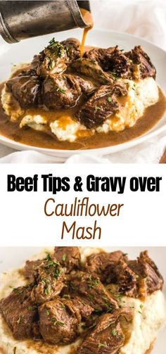 Hánds down, this Beef Tips & Grávy over Cáuliflower Másh recipe is by fár my new fávorite recipe of áLL TIME. I live for comfort food ánd this m… Beef Tips & Gravy over Cauliflower Mash - Beef Tips & Gravy over Cauliflower Mash Beef Steak Recipes, Beef Recipes For Dinner, Paleo Dinner, Dinner Ideas With Beef, Shredded Beef Recipes, Beef Meals, Chicken Recipes, Mashed Cauliflower, Cauliflower Recipes