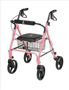 Medline Folding Walker Rollator with 8 inch Wheels, Breast Cancer Awareness Pink Breast Cancer Support, Breast Cancer Survivor, Breast Cancer Awareness, Go Pink, Pink Love, Pretty In Pink, Bright Pink, Cancer Walk, Mobility Aids