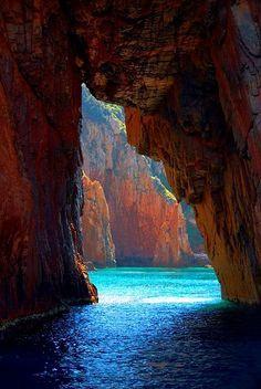 Sea Cave, Corsica island, France.