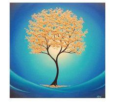 Gold Tree Print Abstract Tree Art Print Giclee Print of by BingArt