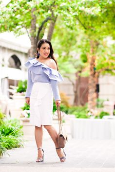 how to wear ruffles | stripe ruffle one-shoulder top, white ruffle pencil skirt, blue suede strappy sandals | spring work outfit