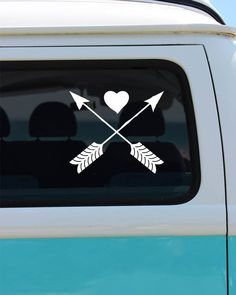 Heart and Arrow Decal - Car Sticker - Window Decal - Arrow Decals - Heart Decals - Arrow Car Decal - Arrow Vinyl Sticker by BrokeGirlGraphics on Etsy