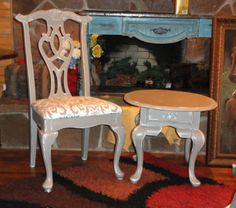 French Linen Gray Chair & Side Table