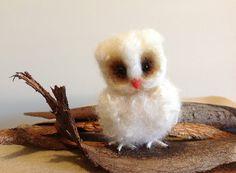 Fuzzy needle felted baby owl