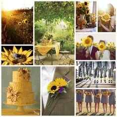 Sunflower wedding decor, inspiration board, yellow, green, lanterns, grey bridesmaid dresses