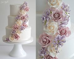 Wedding Cake with cascading roses and wisteria sugar flowers.