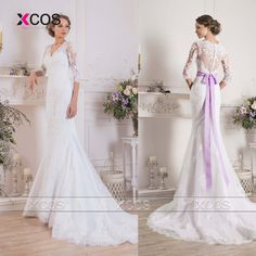 Romantic Abiti Da Sposa 3/4 Sleeves Bridal Dresses Lace Mermaid Wedding Dress Sheer Women Gowns China Online Store