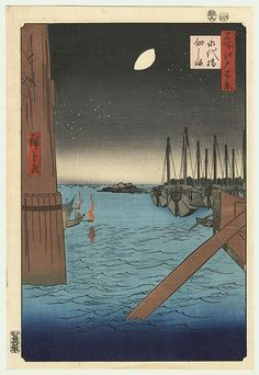 Hiroshige - One Hundred Famous Views of Edo (Keinen Kacho Gafu) - Tsukudajima from Eitai Bridge
